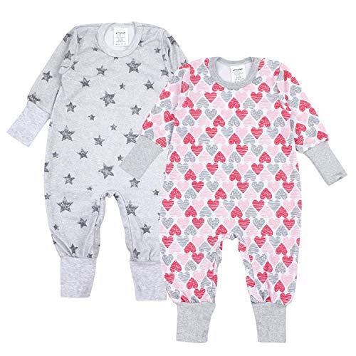 TupTam Baby Mädchen Schlafstrampler Gemustert 2er Pack, Farbe: Farbenmix 3, Größe: 62-68