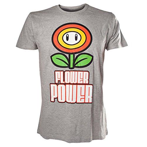 T-Shirt 'Super Mario Bros' - Flower Power - Gris - S