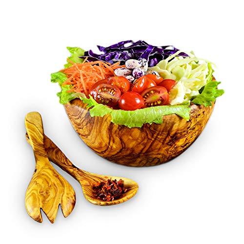 Darido Holz Deko - Salatschüssel aus Olivenholz mit Salatbesteck - Große Rührschüssel - Ø18 cm Große Obstschale Holz – Robuste Dekoschale Holz - Brotkorb - Olivenholz Schale - Nachhaltige Geschenke