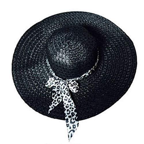 ZXL Hoed 2019 nieuwe zomer zon brede rand meisjes dame floppy stroh strand hoed vrouwen pet casual vrouwelijke strik panama plooien hoed zwart