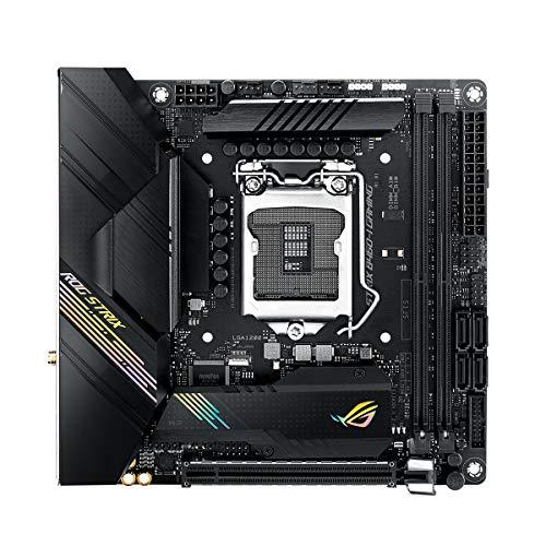 ASUS ROG STRIX B460-I GAMING Mainboard Sockel 1200 (Mini-ITX, AI Networking, WiFi 6 (802.11ax), Intel 1Gbit/s-Ethernet, 2x M.2 und SATA)