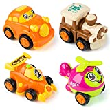 MOOKLIN ROAM Vehículos de Construcción Mini, 4Pcs Coche de Juguete de Plástico Control, Camion de Friccion , Set de Camiones para Regalo de los Niños (4 Estilos, Color Aleatorio)