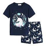 Conjunto Pijamas Unicornio Niña Ropa de Dormir Verano Manga Corta T Shirt y Pantalones Cortos Set Dos Piezas/110cm