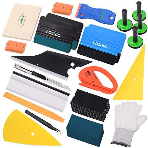 FOSHIO Auto Folie Werkzeuge Kit Plus für Autobeklebung u.Scheibentönung mit Filz Rakel, Magnethalter, Schaber, Cuttermesser, Pinzette und Handschuh