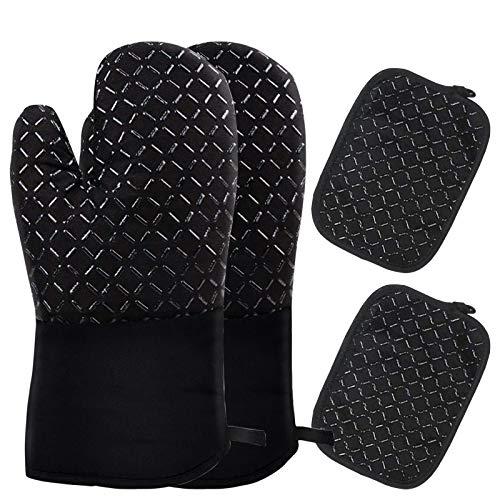 Lzfitpot Ofenhandschuhe und Topflappen Set, AndMax 4er Set Topfhandschuhe 500°F(260℃) Hitzebeständige Handschuhe, Anti-Rutsch Backhandschuhe Kochhandschuhe für Kochen, Backen, Grillen, BBQ-Schwarz