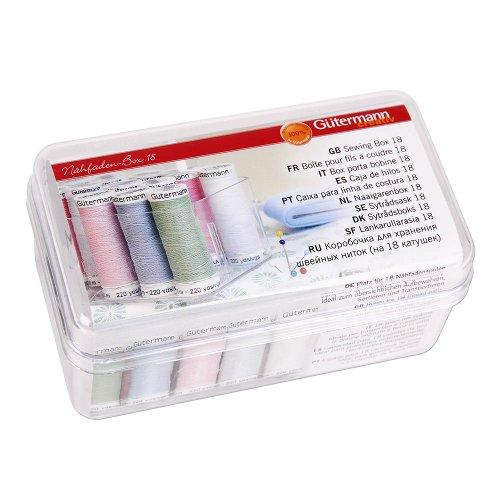 Gütermann box voor 18 spoelen naaigaren, acryl, transparant