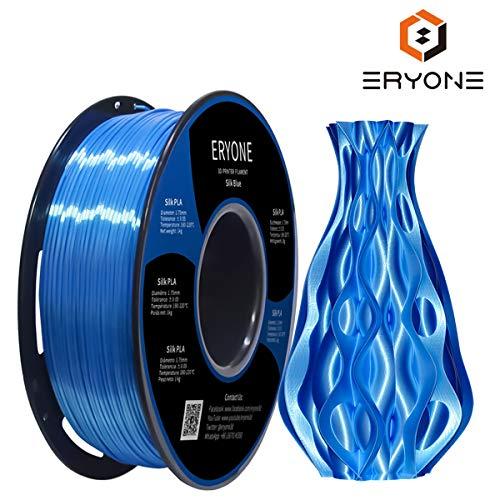PLA Filament 1.75mm Silk Blue, Eyone Silky Shiny 3D Printing Filament PLA 1.75mm for 3D Printer and 3D Pen, 1kg 1 Spool