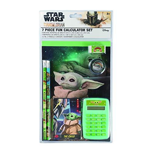 Baby Yoda Star Wars The Mandalorian Taschenrechner-Set, 7-teilig, mit Bleistiften und Notizblock