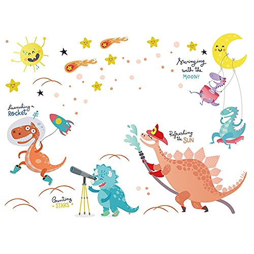 HUIJK Adhesivo decorativo para pared, diseño de dinosaurio, con animales lindos, autoadhesivos, para pared de jardín de infantes, para paredes de aula, papel pintado decorativo (color: multicolor)