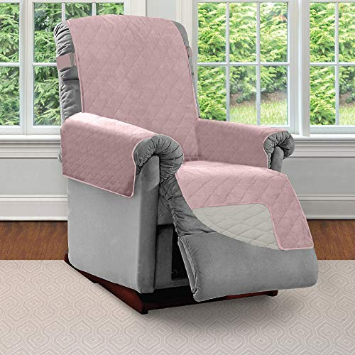 SOFA SHIELD Original Patent Pending Reversible Small Recliner Protector, Seat Width to 25 Inch, Furniture Slipcover, 2 Inch Strap, Reclining Chair Slip Cover Throw for Pets, Recliner, Dusty Rose Linen