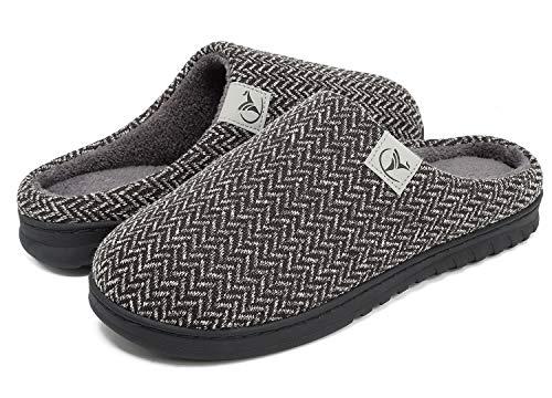 VIFUUR Hombre Zapatillas de casa Espuma de Memoria de Alta Densidad Cálido Interior Lana al Aire Libre Forro de Felpa Suela Antideslizante Zapatos Negro 44/45