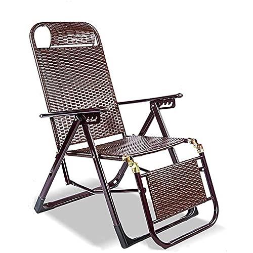 CHLDDHC Silla Zero Gravity, Silla Plegable de ratán, de Doble función, para Interior y Exterior, para Patio, sillón reclinable, para Playa, jardín, balcón, Camping