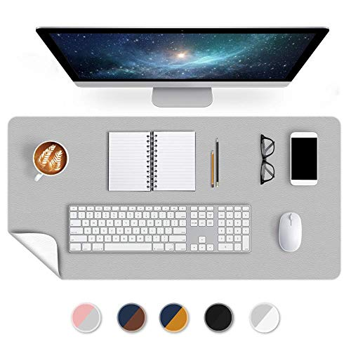 Large Desk Mat Office Desk Pad 24 X 36 Inch PU Leather Desk Blotter Table Protector on Top of Desks Waterproof Desk Writing Cover Mousepad for Laptop Computer Gaming Keyboard Double Sides Gray/White