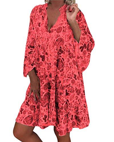 ORANDESIGNE Frauen Große Größen Blumenmuster Kleider Boho Stil Übergröße Sommerkleider Blumendruck Knielang Kleid Kurzarm Kleid Tunika Swing Kleid A Rot 38