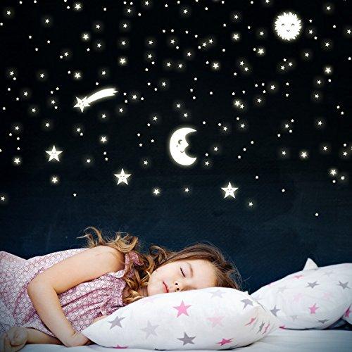 Wandkings Sonne, Mond und Sterne, 166 Sticker für Sternenhimmel, extra starke Leuchtkraft, Wandsticker Leuchtaufkleber, Fluoreszierend und im Dunkeln leuchtend