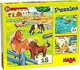 HABA 305237 – Puzzle de Animales de Granja, 3 puzles con 12, 15 y 18 Piezas y Diferentes diseños de Animales, puzles a Partir de 3 años