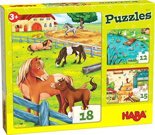 HABA 305237 - Puzzles Bauernhoftiere, 3 Puzzles mit 12, 15 und 18 Teilen und unterschiedlichen Tiermotiven, Puzzle ab 3 Jahren