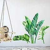 Papel pintado extraíble con hojas de plátano tropicales, hojas gigantes de árbol verde para pared, decoración de pared para niños, niñas, sala de estar, TV de fondo y dormitorio