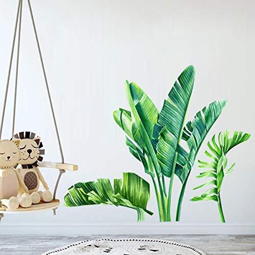 Grüne Bananenblatt tropische Pflanzen Dschungel Wandaufkleber für Kinder Schlafzimmer, abnehmbare Baum Blätter Tapete Abziehbilder, DIY Wandkunst Dekor Wohnaccessoires für Wohnzimmer Kinderzimmer