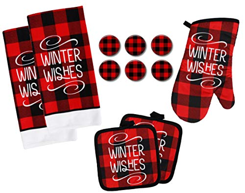 Buffalo Check Kitchen Towel Set with Pot Holders Oven Mitt and Set of 6 Refrigerator Magnets - Black and Red Plaid - Modern Farmhouse Decor Set (Winter Wishes)