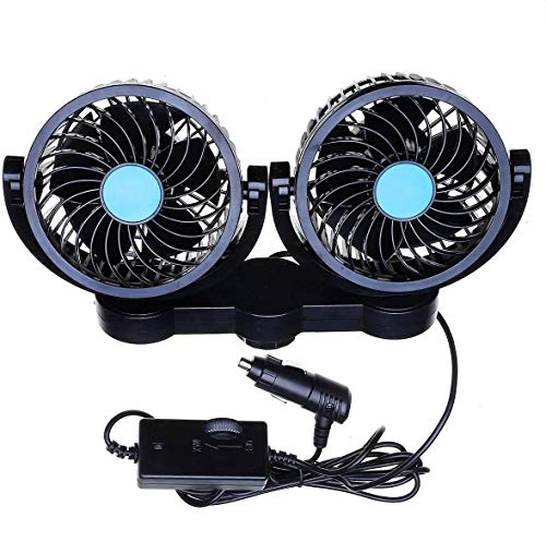 Car Cooling Air Fan 12V- Zone Tech 12V Dual Head Car Auto Electric Cooling Air Fan for Rear Seat - Powerful Quiet 2 Speed 360 Degree Rotatable 12V Ventilation Rear Seat with Kids Safe Design
