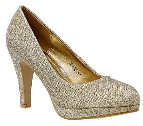 Damen Pumps Glitzer High Heels mit Pfennigabsatz Plateau 315 (Gold, Numeric_39)