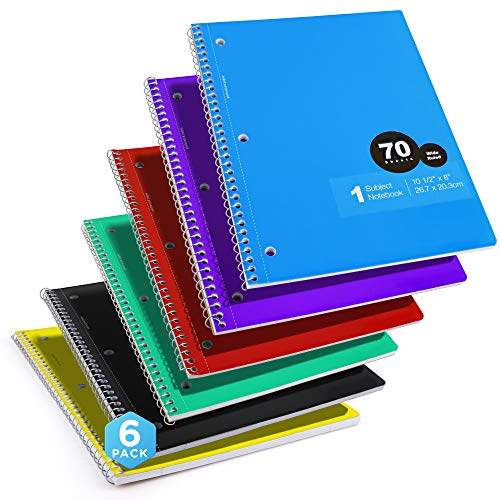 Emraw 1-Subject Notebooks Wide Ruled Durable Spiral Notebook Assorted Colors Double Sided 70 Sheets Lined Paper Wired School Notebooks (Pack of 6)