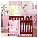 Brandream Butterfly Floral Crib Bedding Sets for Girls with Bumpers Sweet Baby Bedding Pink, Ideal, 7 Pieces