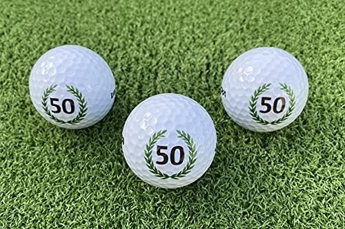 LL-Golf ® 3er Set 50er Geburtstags Golfbälle mit Happy Birthday Motiv in Geschenkbox/Golf Geburtstagsgeschenk/Golfgeschenk