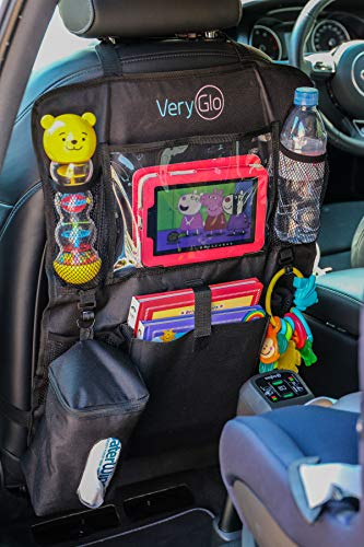VeryGlo - Car Back Seat Organiser with iPad/Tablet Holder & Tissue Box for Kids all ages