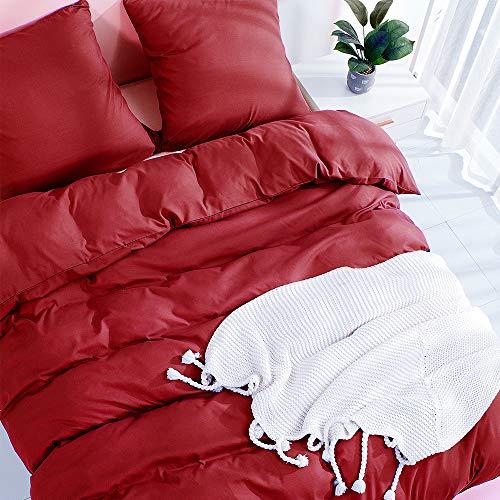 Aisbo Bettwäsche 135x200 rot 4 teilig Superweiches Mikrofaser bettwäsche-Sets - 2 Bettbezüge 135 x 200 mit Reiverschluss + 2 Kissenbezge 80 x 80 cm Winter Bettwäsche
