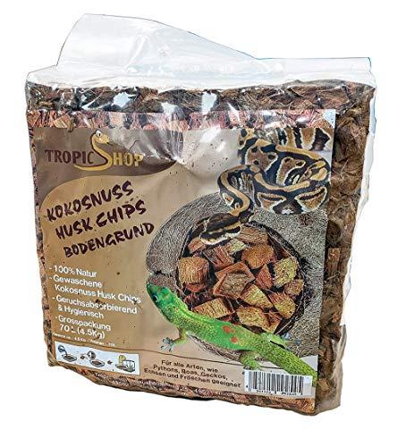 TropicShop Kokosnuss Coconut Husk Chips Terrarien Bodengrund für Schlangen, Schildkröten, Echsen etc. (4,5kg - Ballen)
