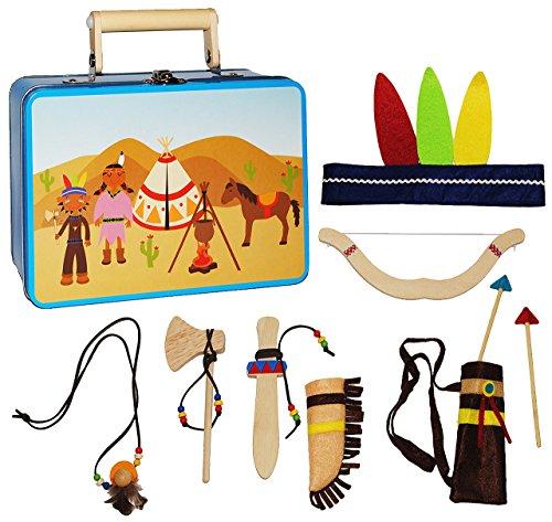 alles-meine.de GmbH 10 TLG. Set: Indianerkoffer - Spielset  Indianer mit Zubehör  - aus Holz - Kostüm / Kopfschmuck & Deko für Kinder - Tomahawk / Pfeil Federn - Indianerset - ..