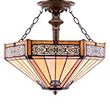 Tiffany Ceiling Fixture Lamp Semi Flush Mount Light W16H15 Inch Yellow Stained Glass Mission Hexagon Shade S011 WERFACTORY Lover Living Room Bedroom Study Coffee Island Bar Hallway Dining Room