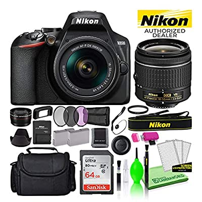 Nikon D3500 24.2MP DSLR Digital Camera with AF-P DX 18-55mm Lens (1590) USA Model Deluxe Bundle -Includes- Sandisk 64GB SD Card + Large Camera Bag + Filter Kit + Spare Battery + Telephoto Lens + More by Nikon
