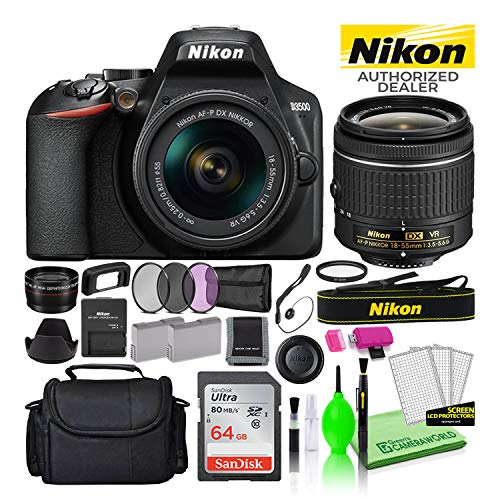 Nikon D3500 24.2MP DSLR Digital Camera with AF-P DX 18-55mm Lens (1590) USA Model Deluxe Bundle -Includes- Sandisk 64GB SD Card + Large Camera Bag + Filter Kit + Spare Battery + Telephoto Lens + More