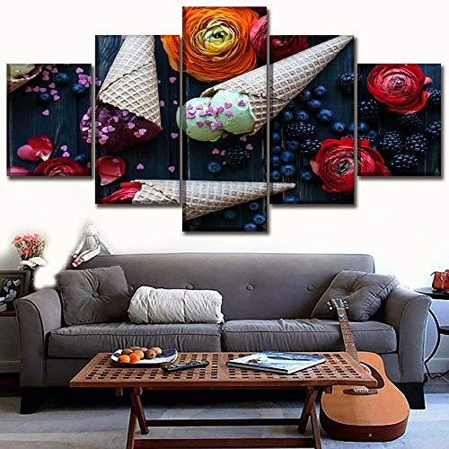 xiaolaji 5 Panel Leinwand Malerei Wandkunst Gerahmte Druck Bild Küche Lebensmittel Brombeere Blaubeere Blume Obst EIS Und Waffel Kegel Moderne Poster Wohnkultur-size2