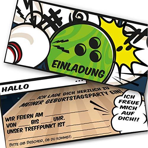 K! 12 Bowling Einladungskarten für Kindergeburtstag und Partys,Geburtstagseinladung für die Bowling/Kegel Feier für Jungen und Mädchen (12 Einladungskarten mit 12 weißen Kuvert)