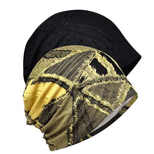 Artibetter 2Pcs Sweat Wicking Beanie Cap Hat Chemo Cap Cotton Cycling Cap for Men Women Outdoor Outdoors Cycling Cycling (Black Yellow)