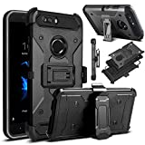 Venoro Compatible with ZTE Blade Z Max Case, ZTE ZMax Pro 2 Case, ZTE Sequoia Case, Shockproof Protection Case Cover with Belt Swivel Clip and Kickstand Compatible with ZTE Z982 (Black)