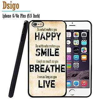 iPhone 6S Plus Case, iPhone 6 Plus Case, Dsigo TPU Black Full Cover Protective Case for New Apple iPhone 6/6S Plus 5.5 inch - Retro Vintage HAPPY SMILE BREATHE LIVE
