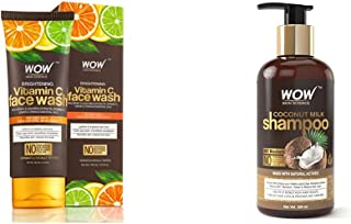 WOW Skin Science Brightening Vitamin C Face Wash - No Parabens, Sulphate, Silicones & Color (100mL) & WOW Coconut Milk Sha...
