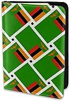 パスポートホルダーレザーカバートラベルパスポートケース、3枚のカードスロット付きザンビアの国旗織り