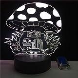LBJZD luz de noche La Casa De La Seta 3D Led Luz De Noche Usb 7 Colores Interruptor Táctil Lámpara De Mesa Decoración De La Habitación Iluminación Led Colorida Para Regalo Con Mando A Distancia