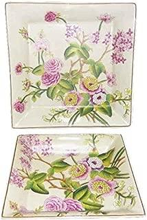 Better & Best Set de 2 ceniceros Cuadrados de Porcelana, con Dibujo de Camelias, Ceramica/Brass, Fresa, 22 cm, 2 Unidades