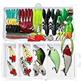 Fishing Lures Fishing Lures Sea 106pcs Fishing Tackle Kit Sea Fishing Tackle Fishing Set Including Spinning Lures, Plastic Worms, Frogs, Single Hooks, Swivels and Fishing Tackle Boxes.