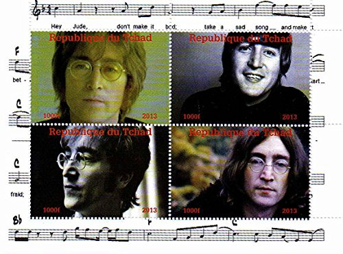 Stampbank I francobolli Beatles - John Lennon - 4 Foto del leggendario Beatle - Menta e minifoglio smontato con 4 francobolli