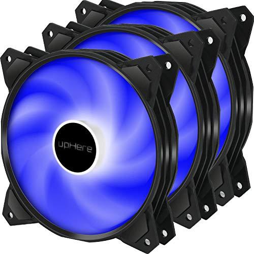 upHere 120mm 3pin LED Azul Ventilador para Ordenador -Ventilador de Caja - Ventilador de PC Silencioso 3 Pack (PF120BE3-3)