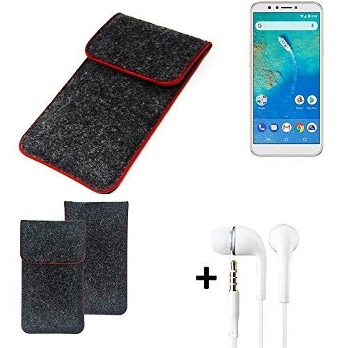 K-S-Trade Handy Schutz Hülle Für General Mobile GM 8 Schutzhülle Handyhülle Filztasche Pouch Tasche Hülle Sleeve Filzhülle Dunkelgrau Roter Rand + Kopfhörer