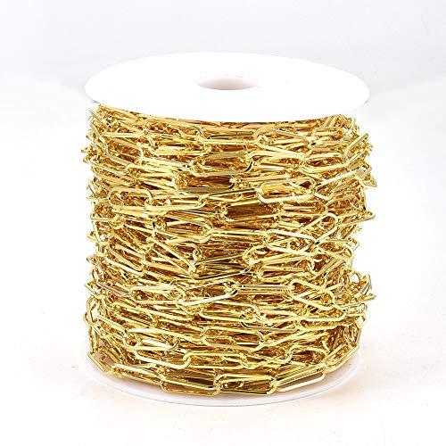 Cheriswelry Cadena de alambre de hierro de 25 m, con forma de cruz dorada, sin soldar, ovalada, con carrete para joyas, pulseras, collares, manualidades, 18 x 6 mm